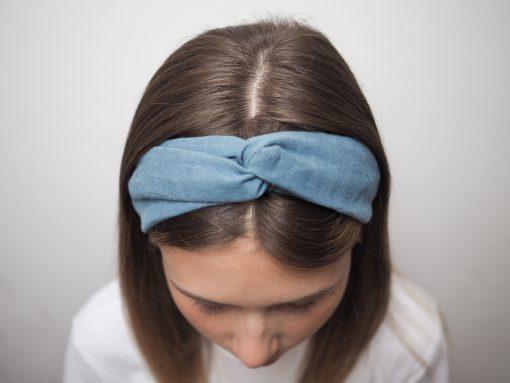 niebieska Lniana opaska do włosówP6230132
