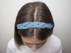 niebieska Lniana opaska warkocz do włosów boho