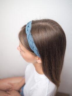 niebieska Lniana opaska warkocz do włosów