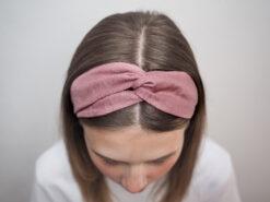 różowa Lniana opaska do włosówP6110605