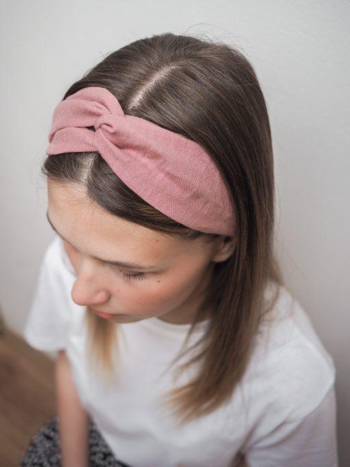 różowa Lniana opaska do włosów