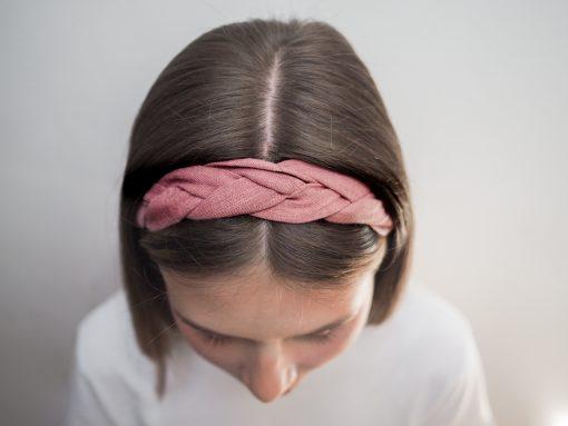 różowa Lniana opaska warkocz do włosów boho