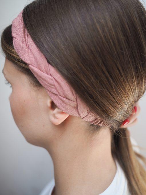 różowa Lniana opaska warkocz do włosów