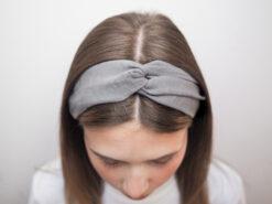 szara Lniana opaska do włosówP6110666
