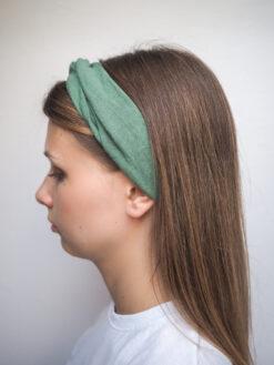 zielona Lniana opaska do włosów