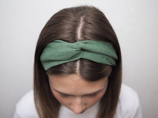 zielona Lniana opaska do włosówP6230143
