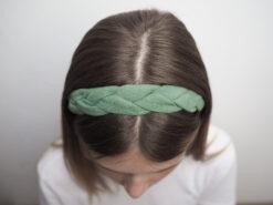 zielona Lniana opaska warkocz do włosów boho