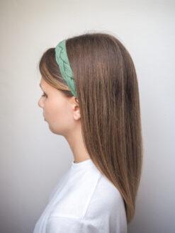 zielona Lniana opaska warkocz do włosów