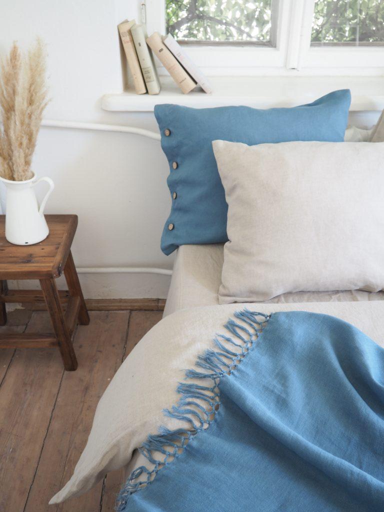 Blue linen throw