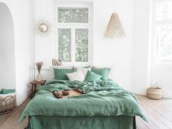 Bettwäsche aus grünem Leinen