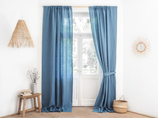 Lniane szarfy do zasłon niebieskie