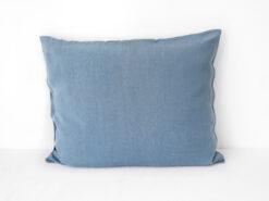 Niebieska lniana poszewka na poduszkę