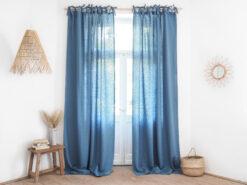 Dusty blue tie top linen curtains