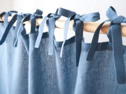 Blue tie top linen curtains