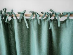 Green tie top linen curtains