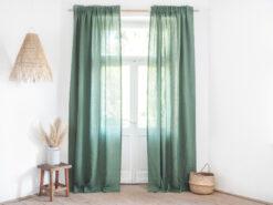 Zielone lniane zasłony do salonu