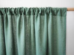 Zielone zasłony z lnu z tunelem
