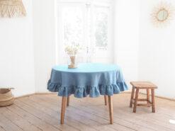 Blau Runde Leinen Tischdecke mit Rüsche