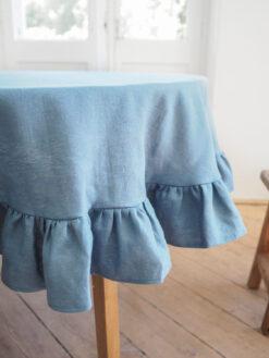 Blau Runde Leinen Tischdecke mit Rüsche 1