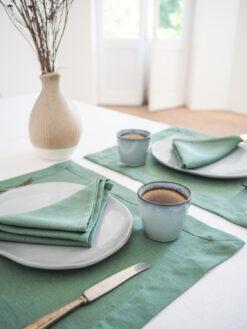 zielone lniane serwetki