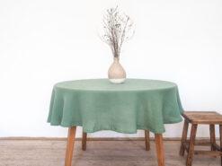 zielony obrus lniany okrągły